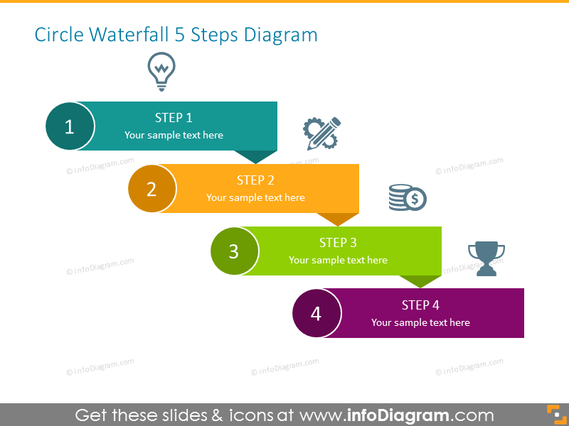 Steps Diagram Template for 4 Items