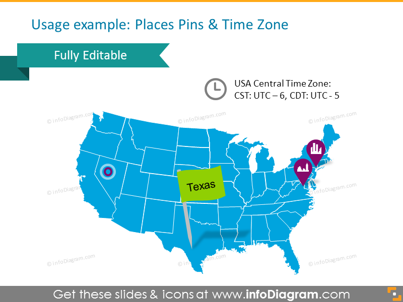 Mapof USAstates with Pin and time zones
