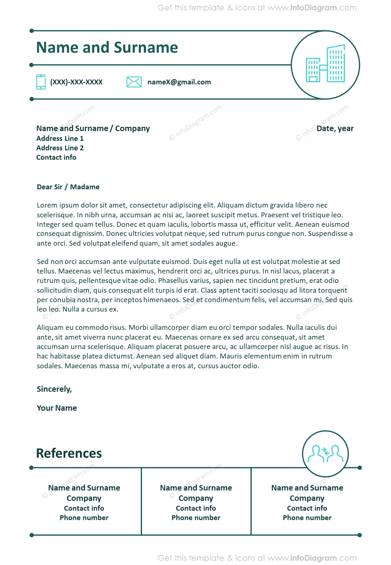 Creative outline personal cover letter with references