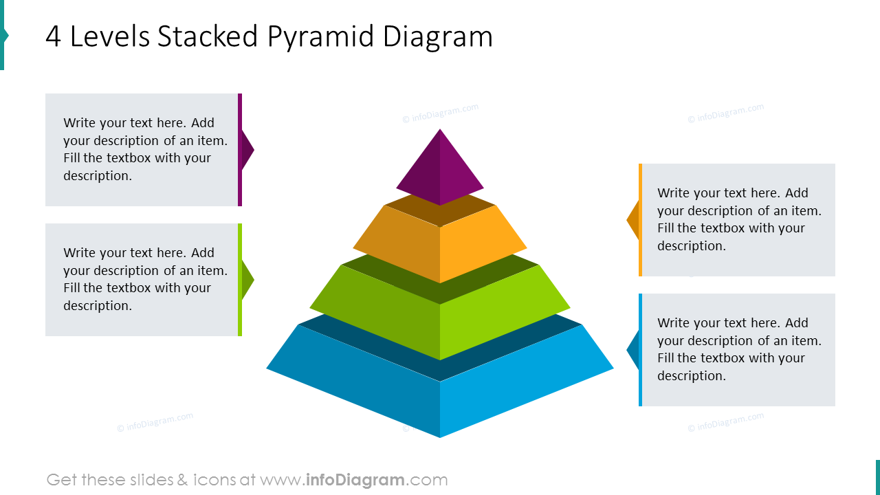 Four levels stacked pyramid diagram