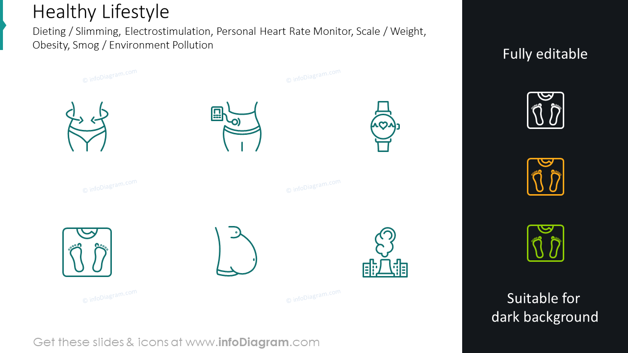 Dieting , slimming, electrostimulation, personal heart rate monitor graphics