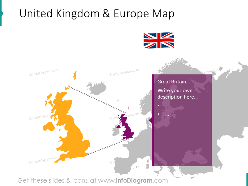 United Kingdom and Europe Map with text placeholder