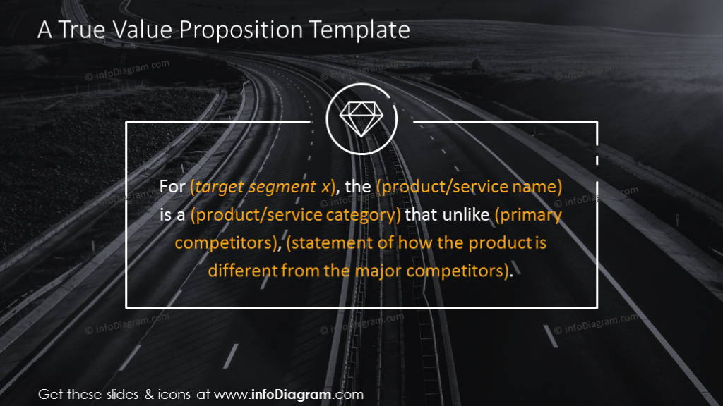 Value proposition slide on a dark background with text placeholder in a ...