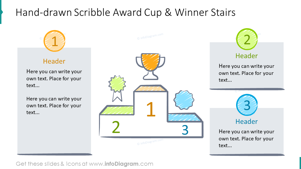 Hand-drawn scribble award cup and winner stairs graphics
