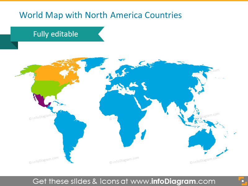 World Map with North American Countries Highlited