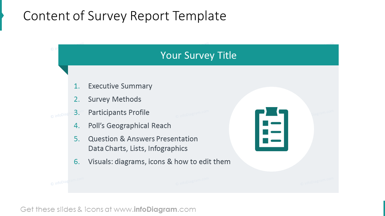 Content of survey report template