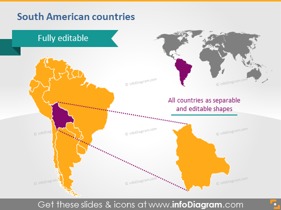 Southern America countries powerpoint editable Bolivia map