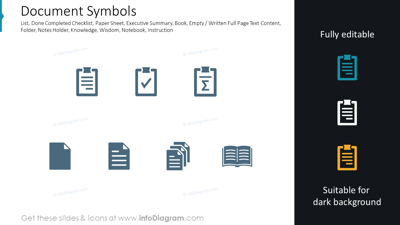 Documents symbols for office reports books for PPT