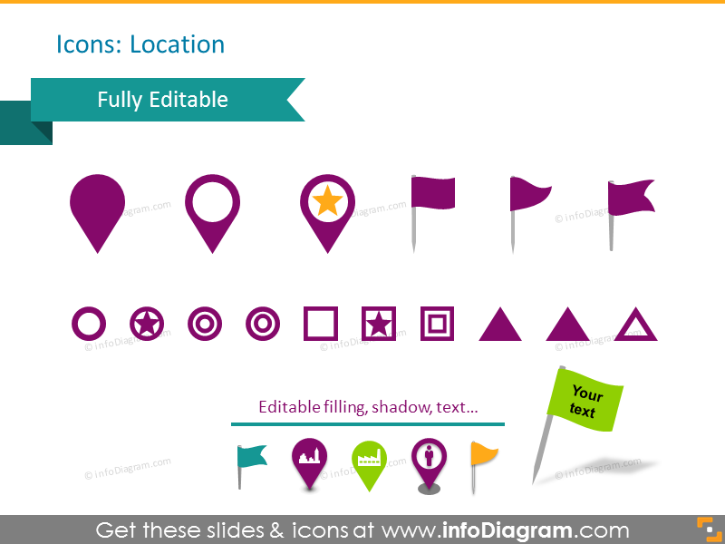 Location icons: pin, place, city, person, capital, flag
