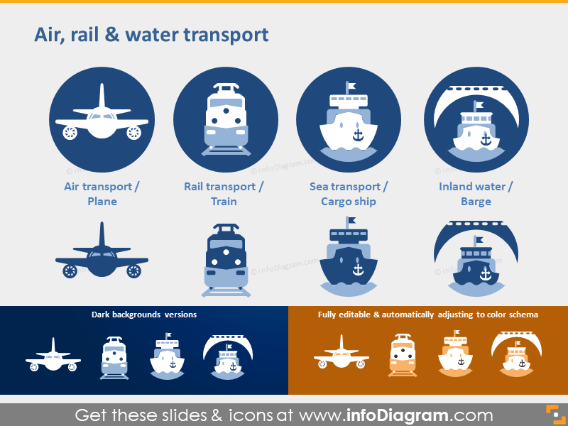 Air Rail Water transport Plane Sea Cargo ship ppt icons