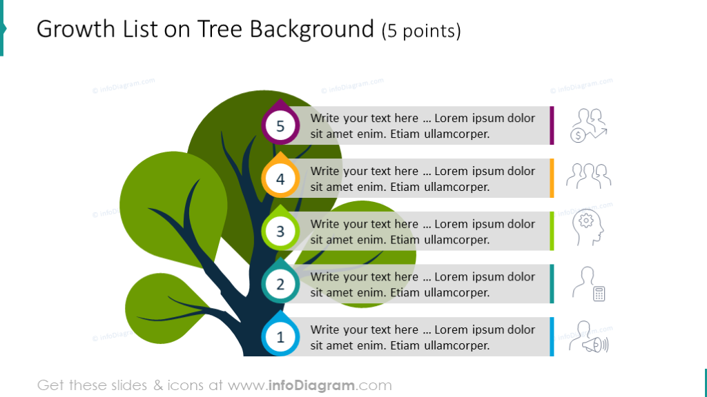 5 points growth list on the tree background