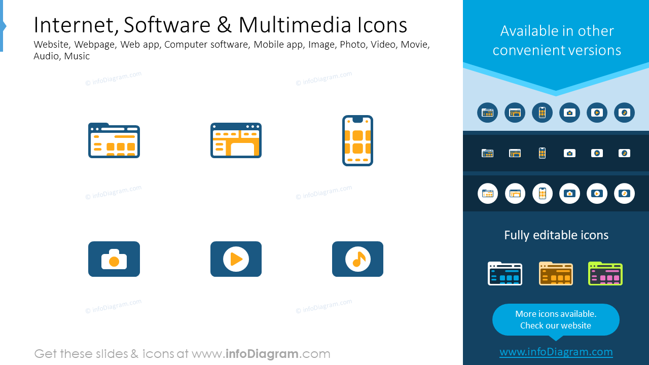 Internet, software, multimedia icons: website, webpage, web app