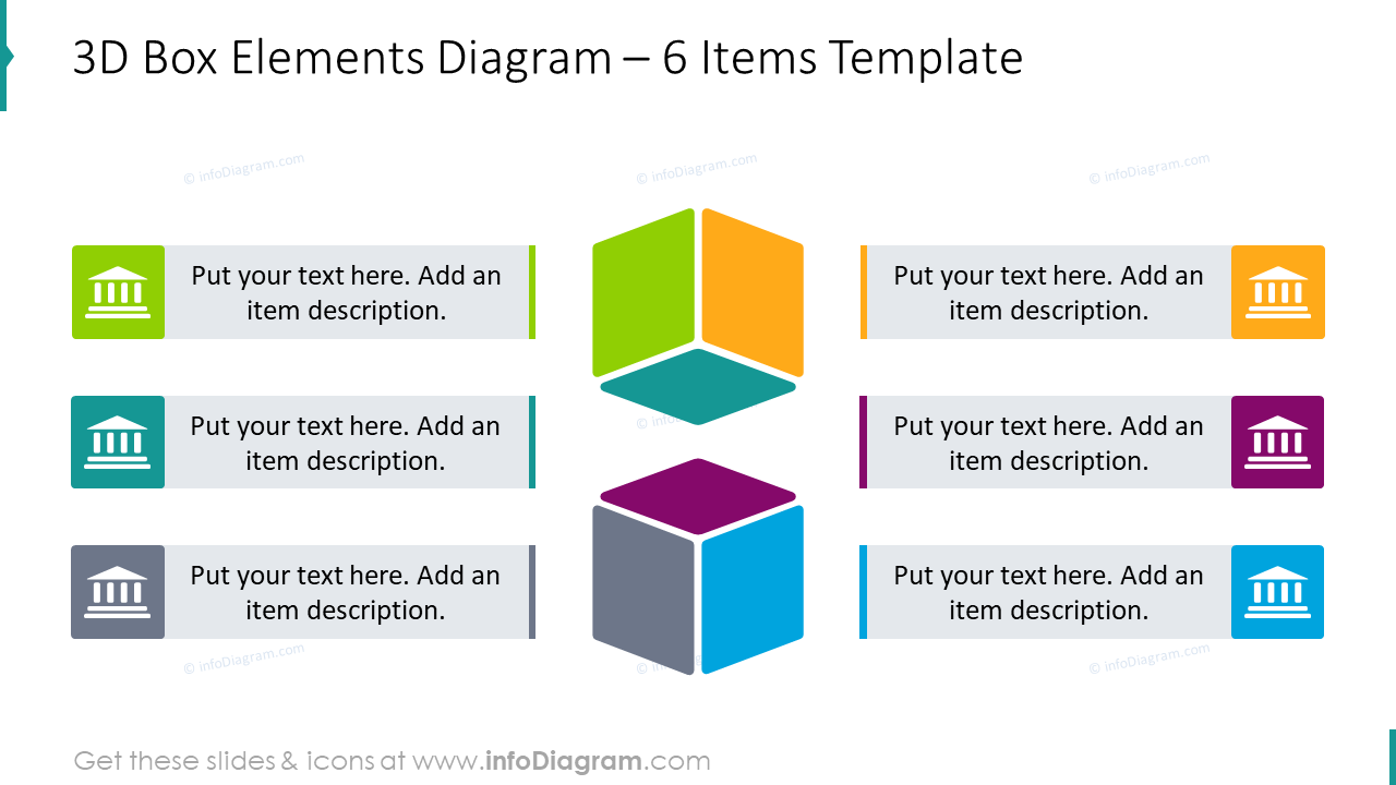 3D box elements slide for 6 items with flat icons