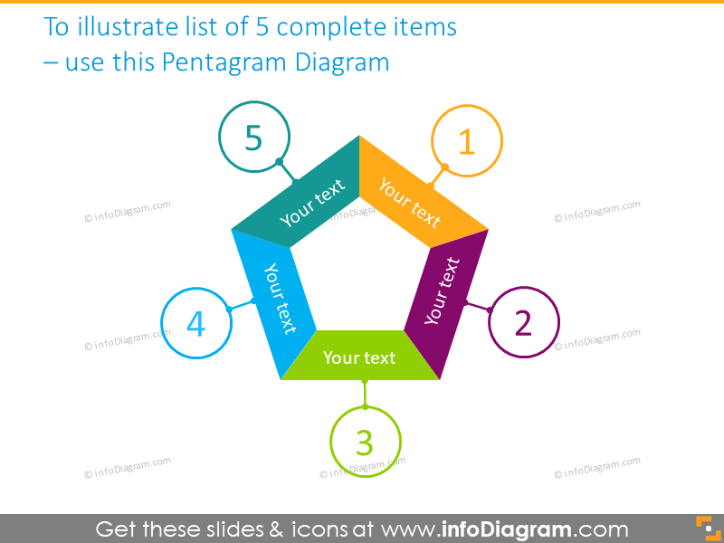 pentagram shape numbered diagram infographics