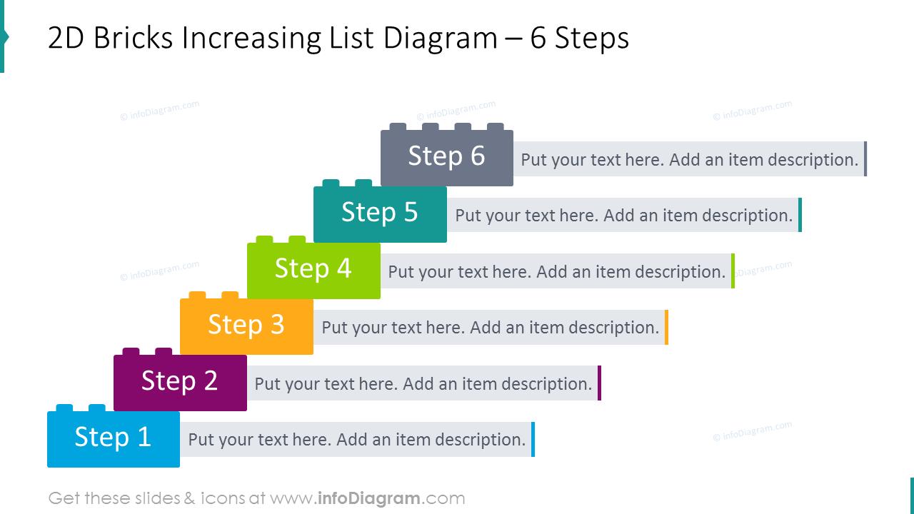 2D bricks increasing list diagram for 6 steps