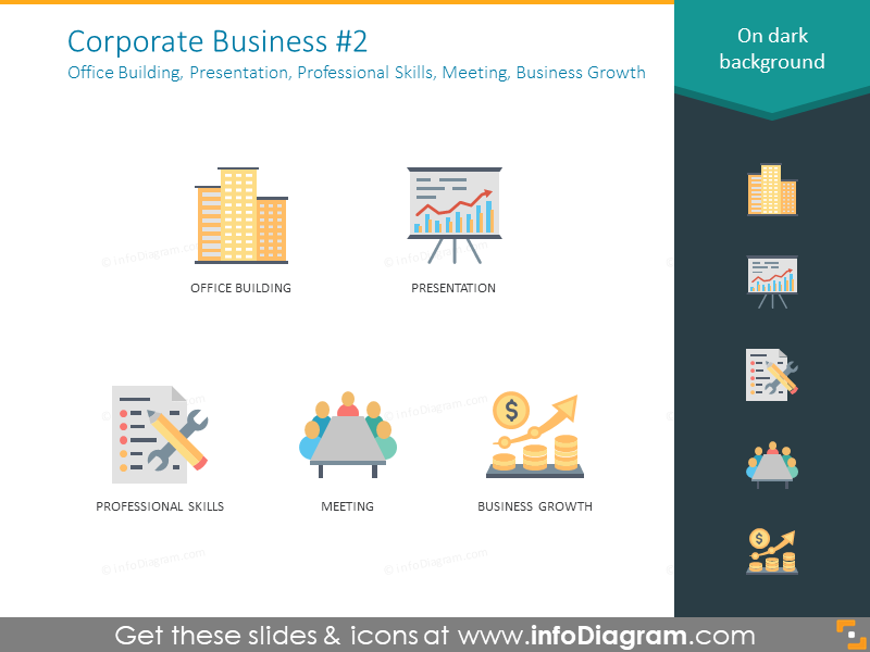 Corporate business: office building, presentation, professional skills