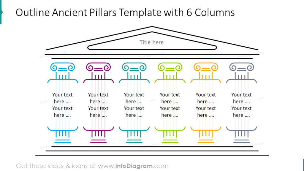 Ancient pillars diagram with 6 outline columns