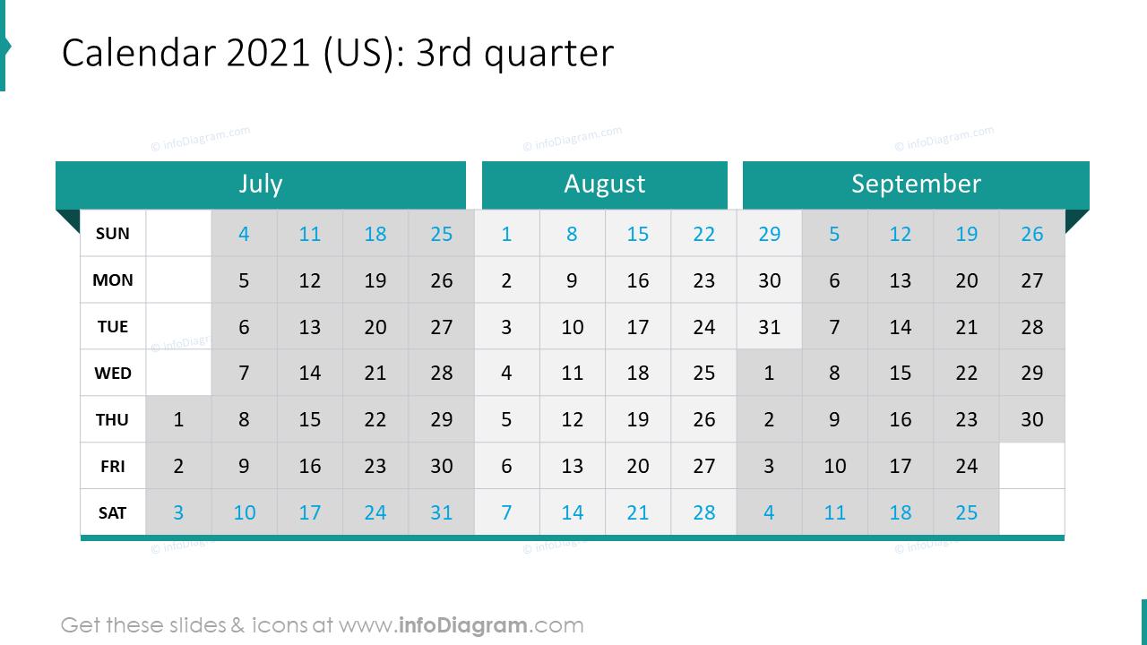 3rd Quarter 2020 US Calendars