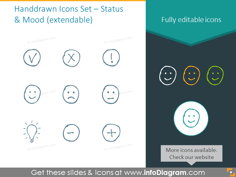 Extendable Handwritten Icons Set – Status  & Mood