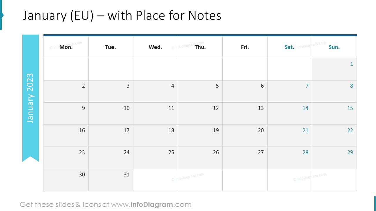 February Calendars 2022 EU with notes plan