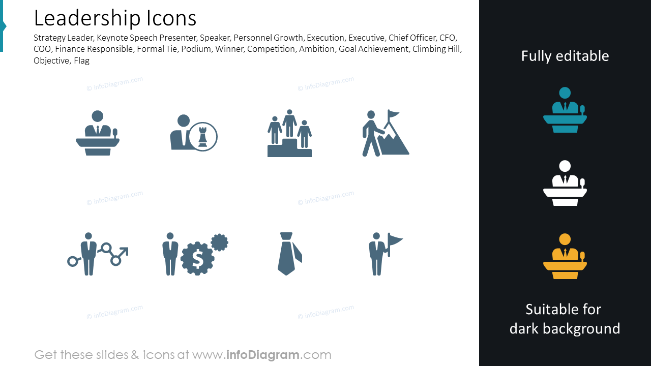 Leadership, Strategy Leader, Keynote Speech Presenter, Formal Tie icons