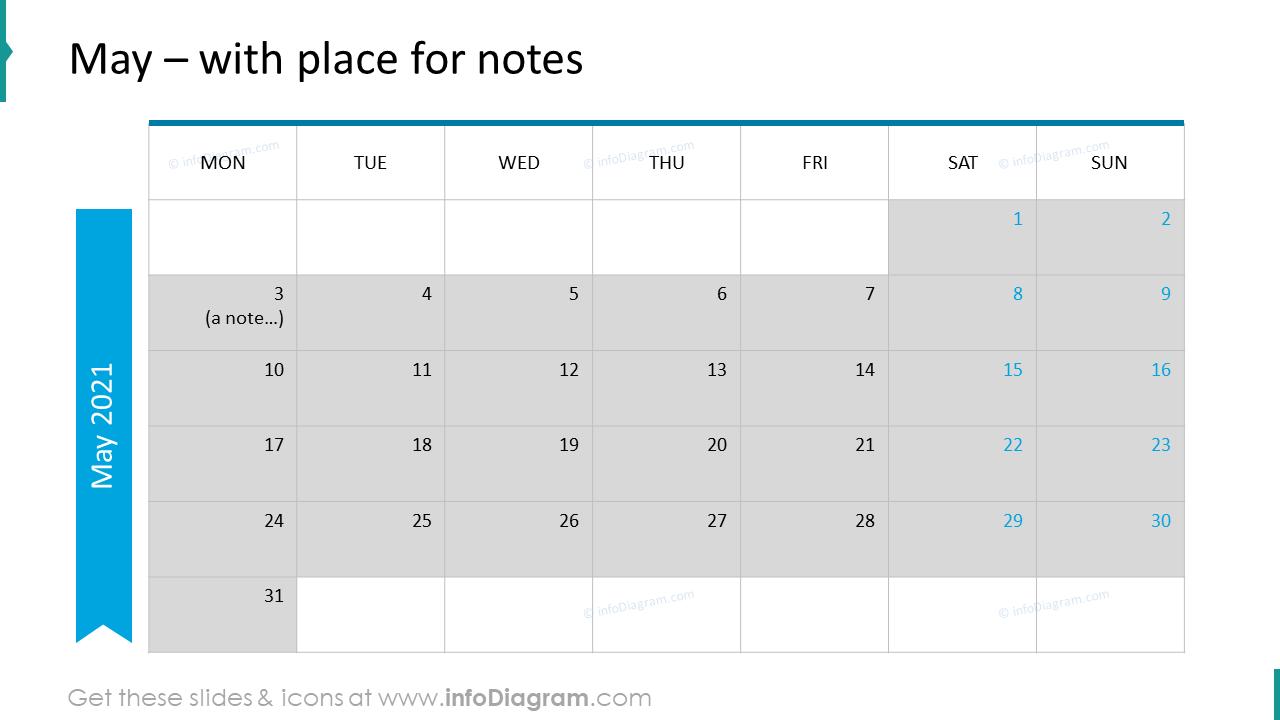 May Calendars 2020 EU with notes plan