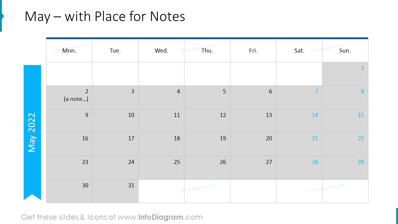 May Calendars 2022 EU with notes plan