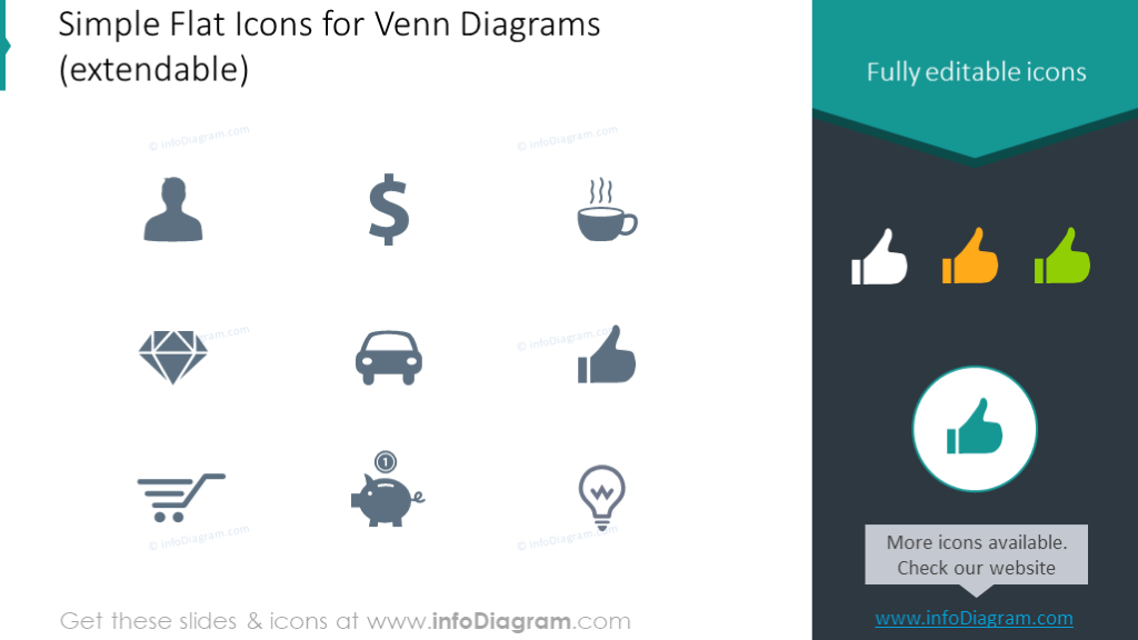 Flat icons set for Venn diagrams
