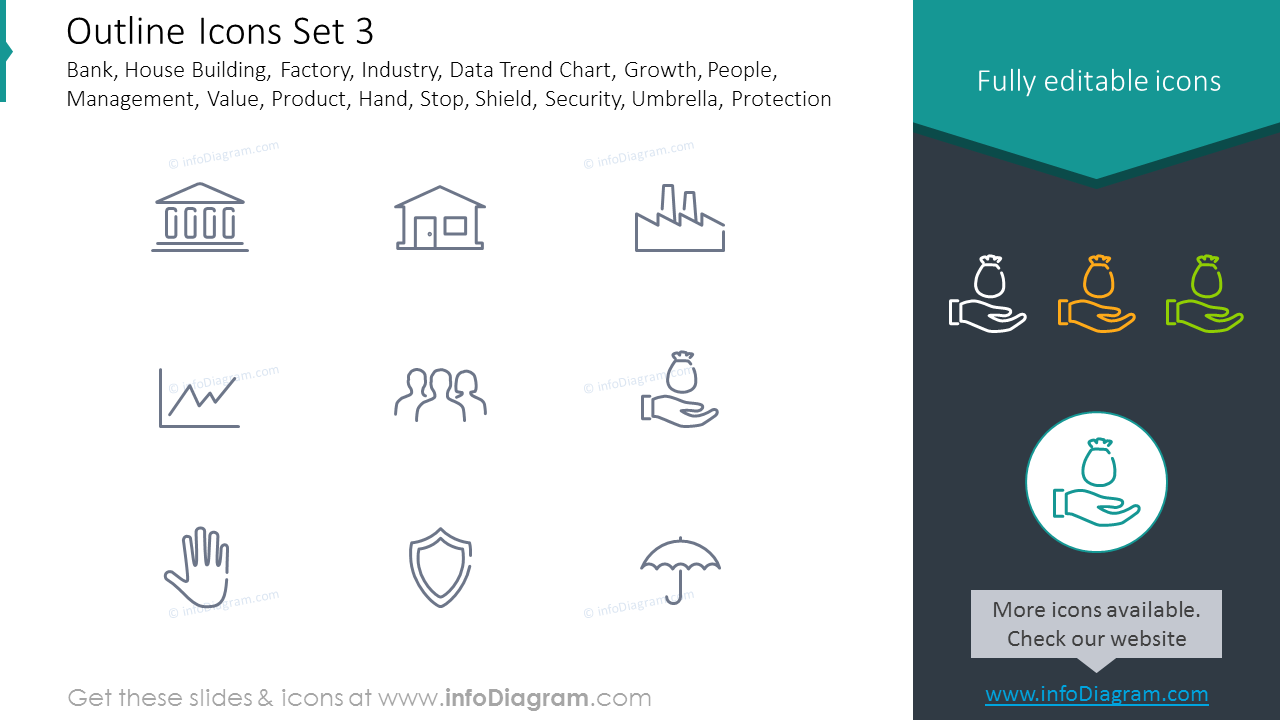 Icons Set: Industry, Growth, Value, Product, Security, Umbrella, Protection