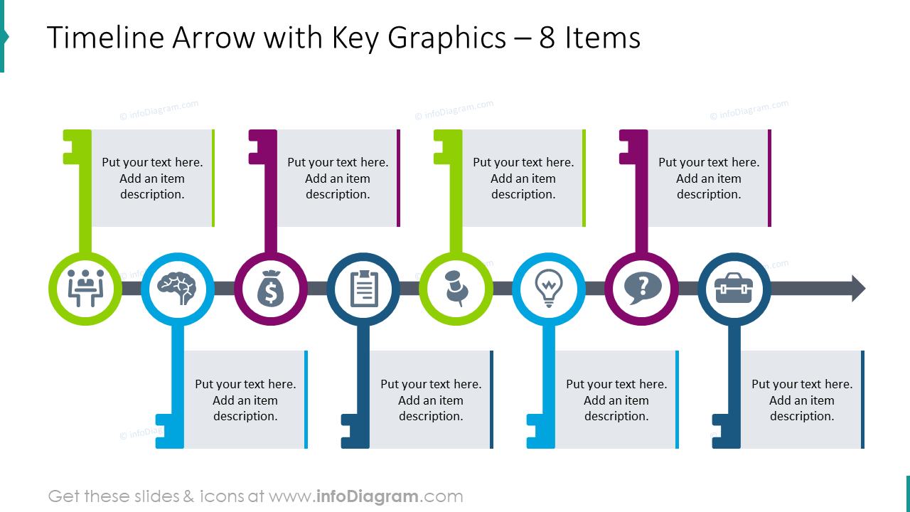 Timeline arrow with key graphics for 8 items