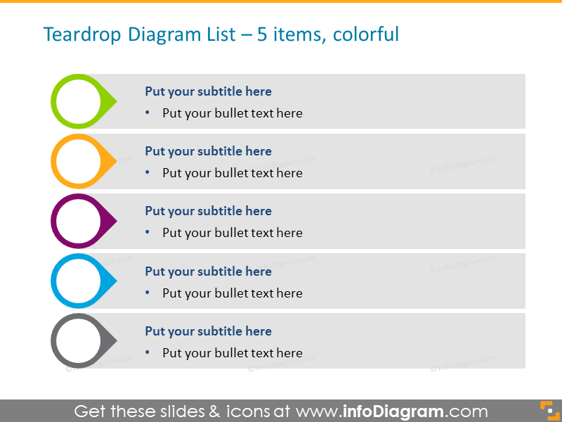 Colored List for placing Activities for 5 items