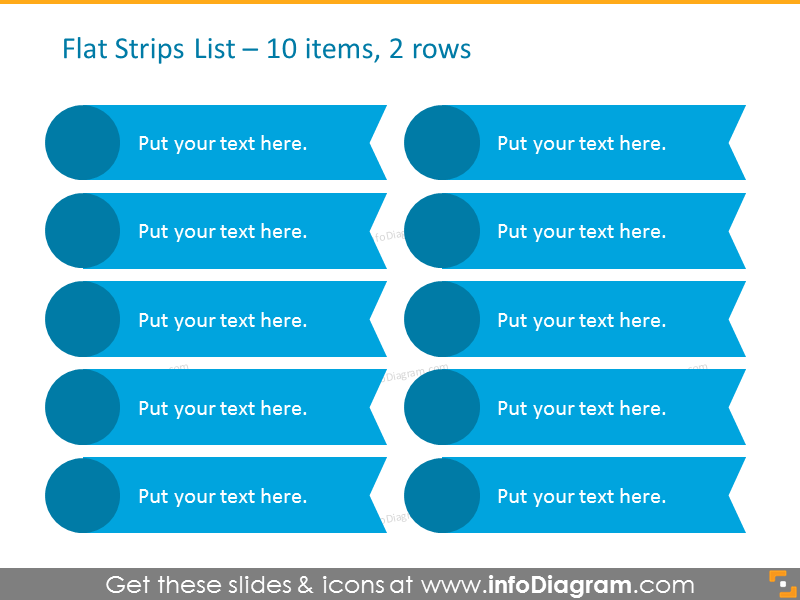 Smartart Template List for placing 10 items in 2 columns