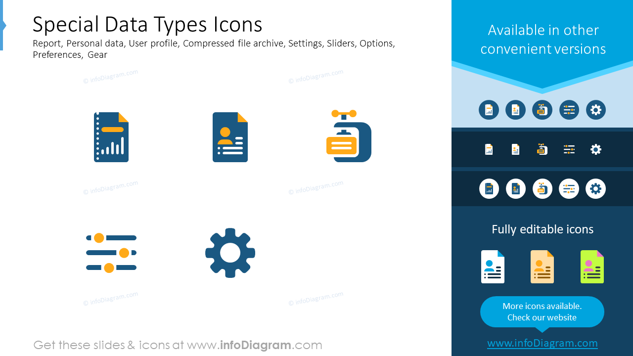 Special data types icons: report, personal data, user profile