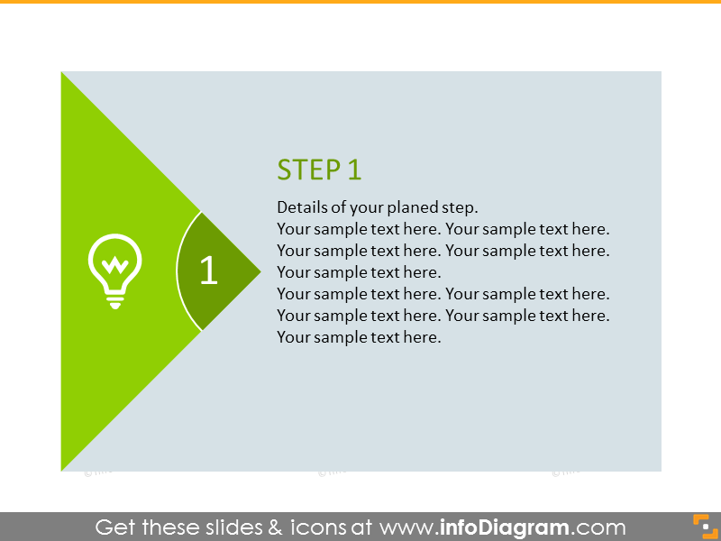 Flat diagram with place for step details in green color