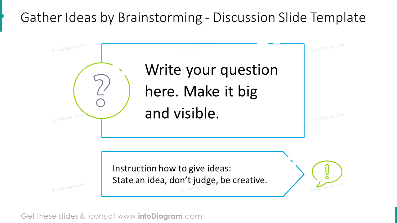 Gather ideas by brainstorming showed with discussion slide