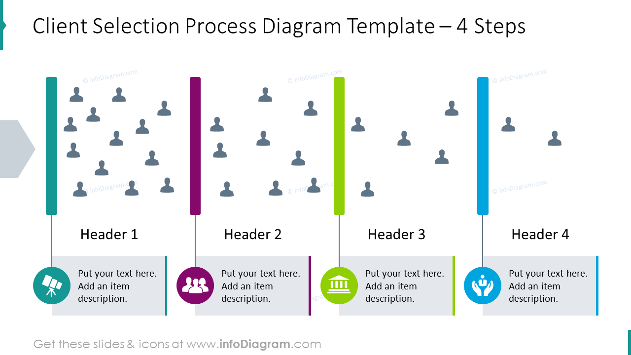 Client selection 4 steps process illustratred with flat icons