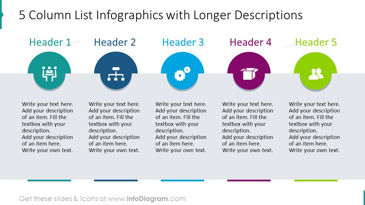 5 column list infographics with longer descriptions