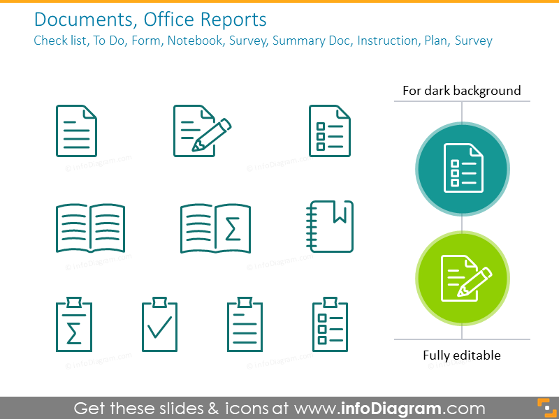 Outline documents symbols: report, check list, notebook, summary doc