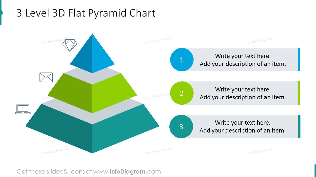 Three level 3D flat pyramid chart