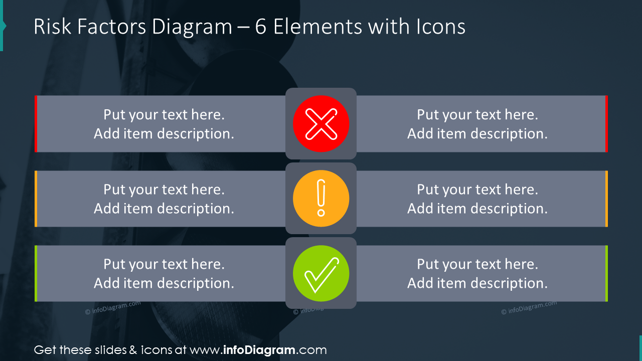Risk factors diagram for six items with icons