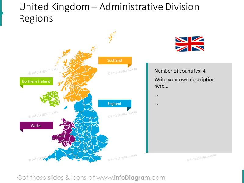United Kingdom administrative division regions map with description