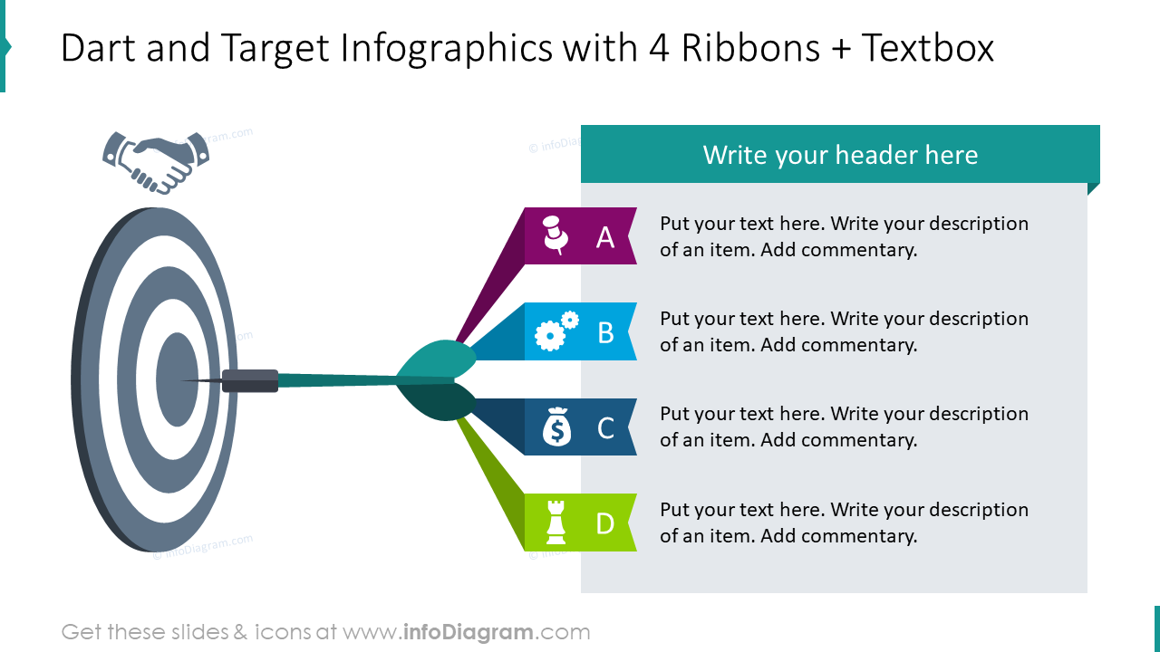 Dart and target infographics for four ribbons and textbox