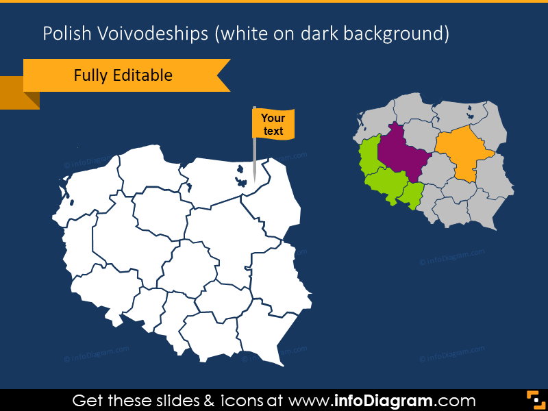 Polish voivodeship on a dark background