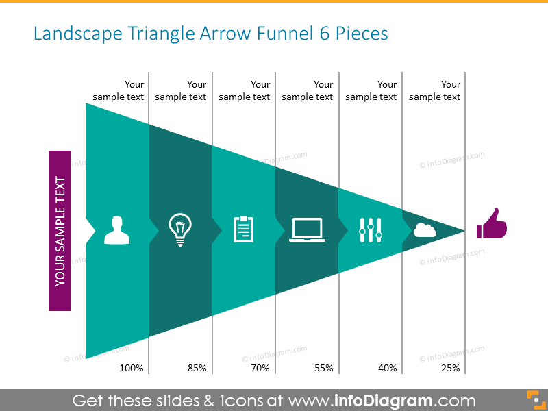 Triangle arrow funnel monocolor with icons