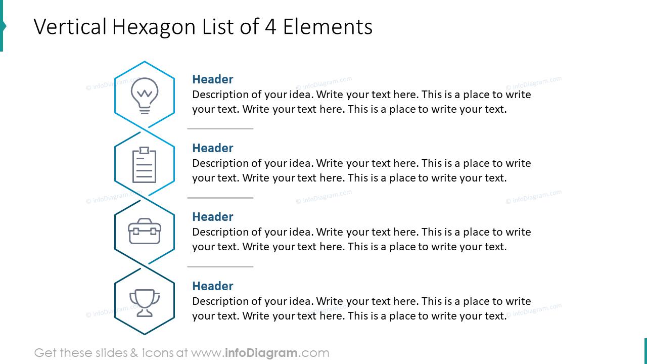 Vertical hexagon list of four elements