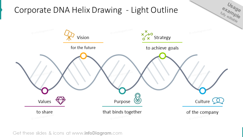 Corporate DNA helix drawing illustrated with outline graphics