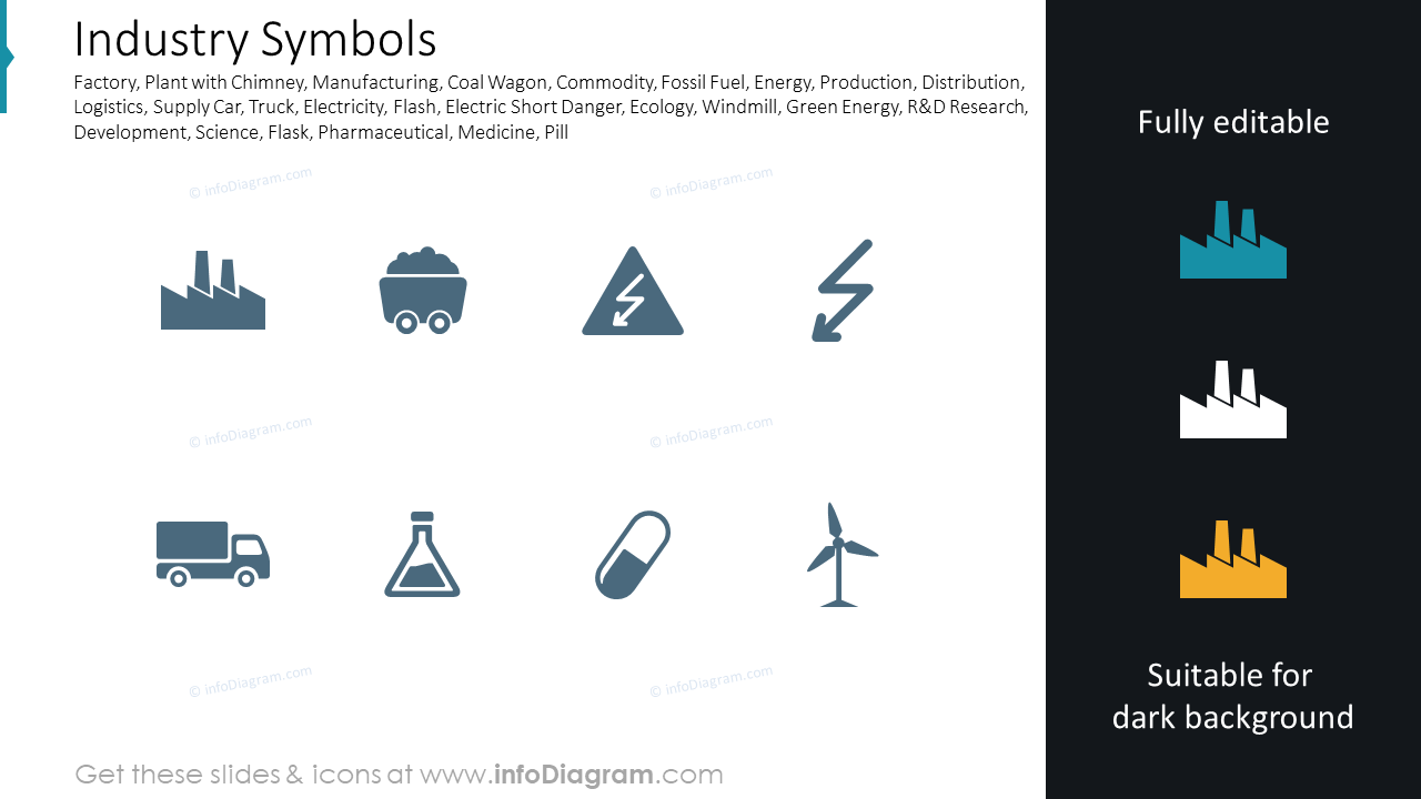 Industry: factory, windmill, lab, car, energy symbols