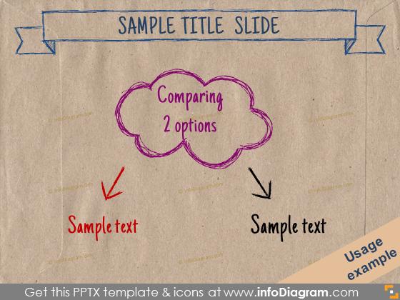 eco paper handdrawn pencil cloud arrow comparison ppt clipart