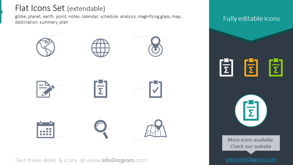 Icons set: earth, calendar, schedule, analysis, destination, summary