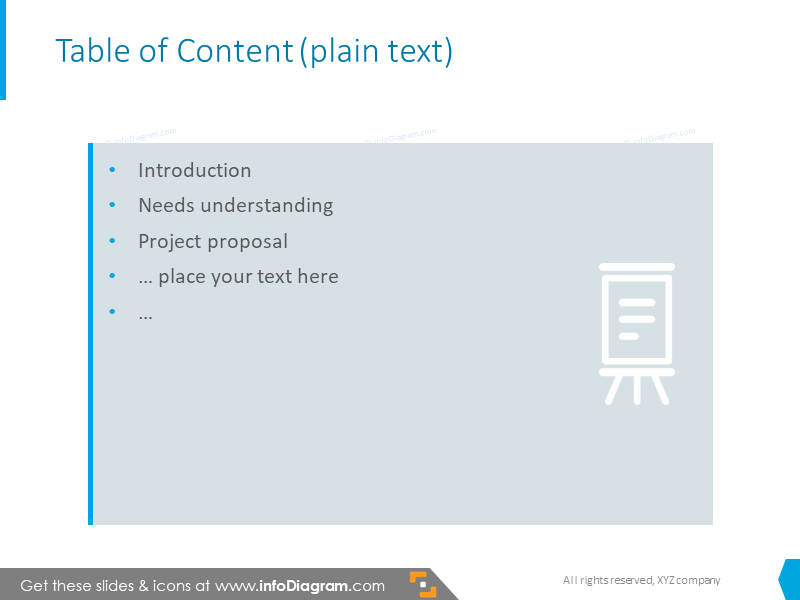 Table content slide with text description and symbols